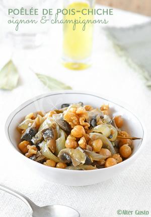 Poêlée de pois-chiches, oignon & champignons