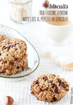 Biscuits aux flocons d'avoine, noisettes & pépites de chocolat