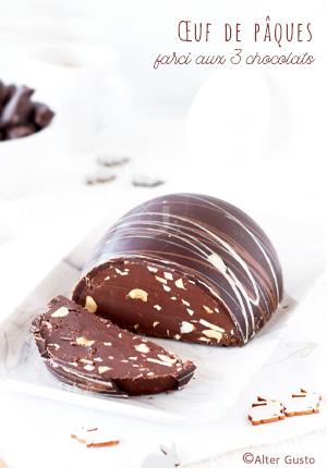 Œuf de pâques farci aux 3 chocolats, amandes & noisettes