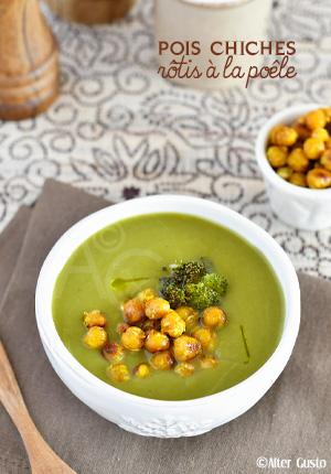 Pois chiches rôtis à la poêle & soupe verte