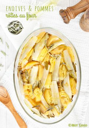 Endives et pommes rôties au four