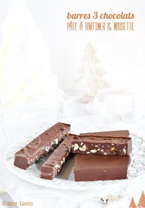 Barres aux 3 chocolats, pâte à tartiner & noisettes
