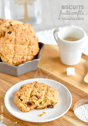 Biscuits aux fruits confits & raisins secs