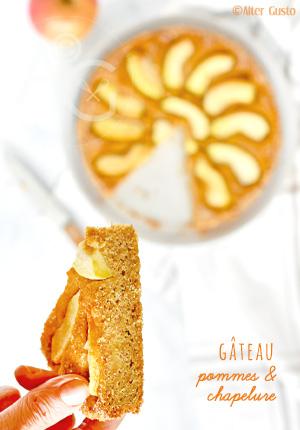 Gâteau à la chapelure (de pain rassis, de biscottes, de biscuits…) & aux pommes