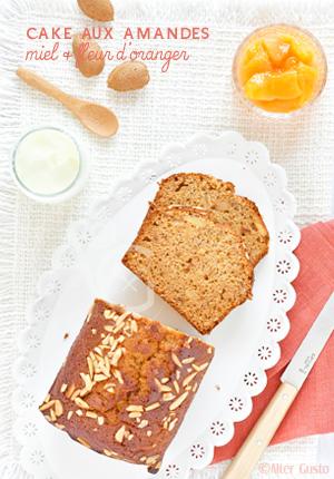 Cake aux amandes, miel & fleur d'oranger