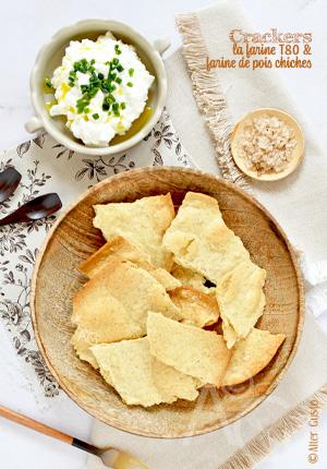 Crackers à la farine t80 & farine de pois chiches (sans graines)