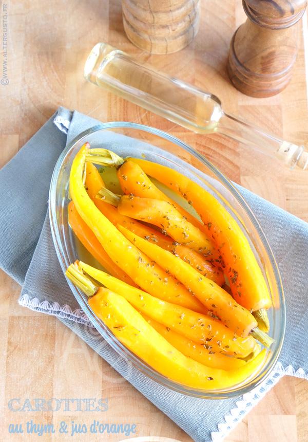 Papillote de carottes fanes au thym & jus d'orange