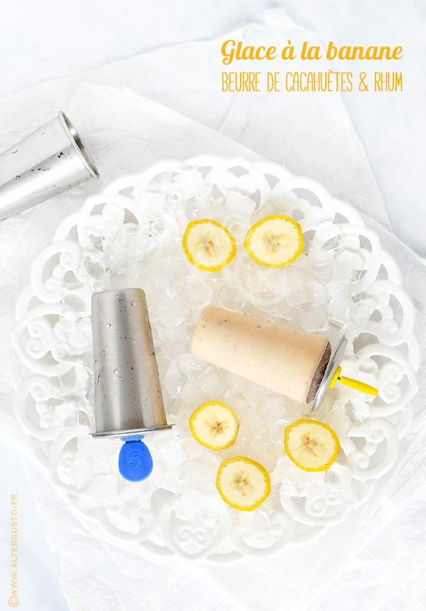 Glace à la banane, beurre de cacahuètes & rhum